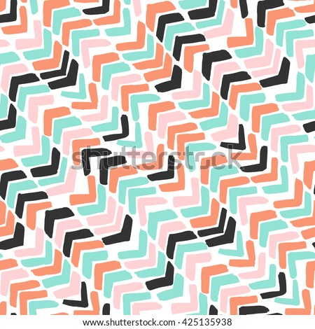 Hand drawn chevron. Colorful abstract background with brush strokes zig zag. Vector seamless pattern.  - stock vector
