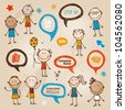 Hand-drawn children and speech bubbles set - stock photo