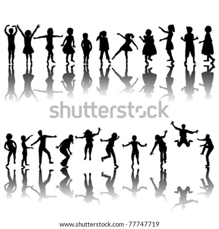 Hand drawn children silhouettes playing - stock vector
