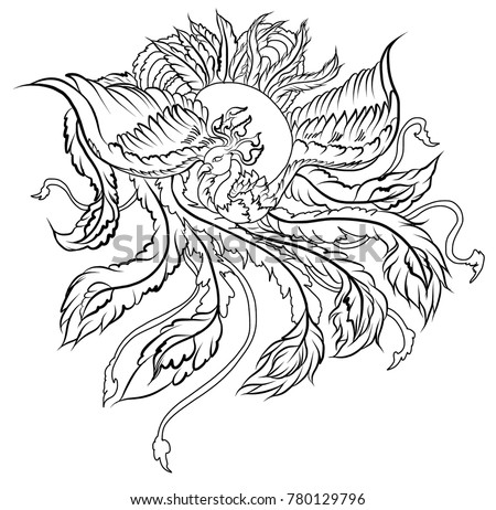 hand drawn chinese peacock tattoo asian phoenix stock vector royalty free 780129796 shutterstock. Black Bedroom Furniture Sets. Home Design Ideas