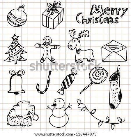 hand drawn Christmas and doodles