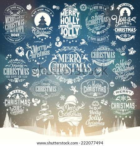 Hand Drawn Christmas And New Year Decoration Set Of Calligraphic And Typographic Design With Labels, Symbols And Icons Elements - stock vector
