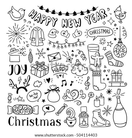 Hand Drawn Christmas And New Year Doodles Cute Winter Icons Happy Vector Illustrations