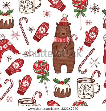 Hand drawn Christmas and New Year seamless pattern. Funny winter bear in knitted hat and scarf, peppermint lollipops, mug with hot chocolate, traditional Christmas pudding, knitted hat and mittens - stock vector