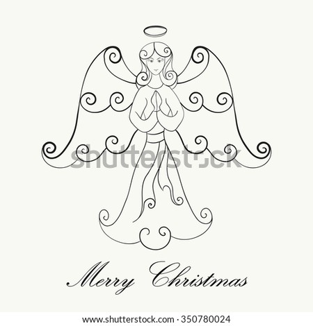 Hand drawn Christmas angel prayer for adult anti stress Coloring Page. Isolated on white background. Vector monochrome sketch. Eps 8. - stock vector