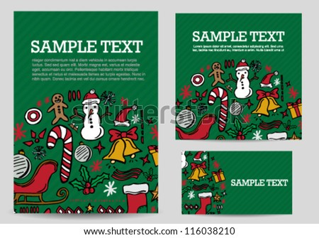 Hand drawn Christmas card template set - stock vector