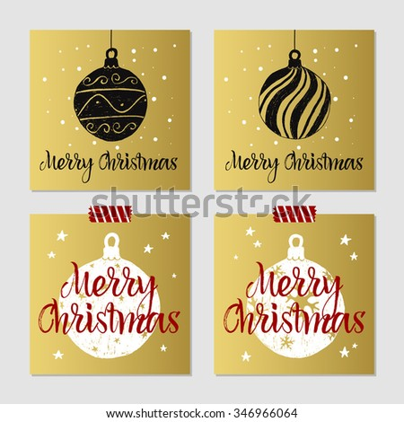Hand drawn Christmas cards set with textured decorative Christmas tree balls vector illustrations. - stock vector