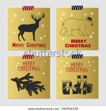 Hand drawn Christmas cards set with textured deer, polar bear, fir tree branch, and gift boxes vector illustrations. - stock vector