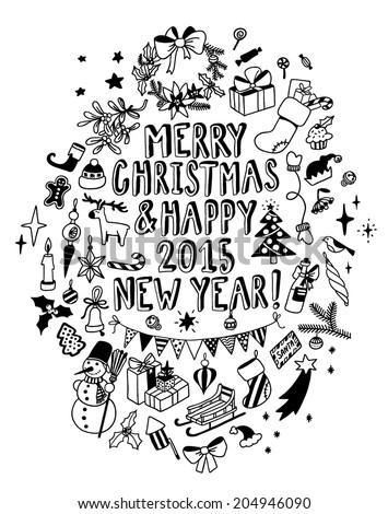 hand-drawn Christmas doodle card - stock vector