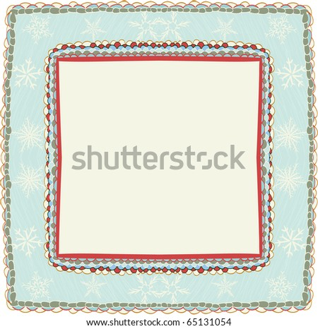 Hand drawn christmas frame with snowflakes - stock vector