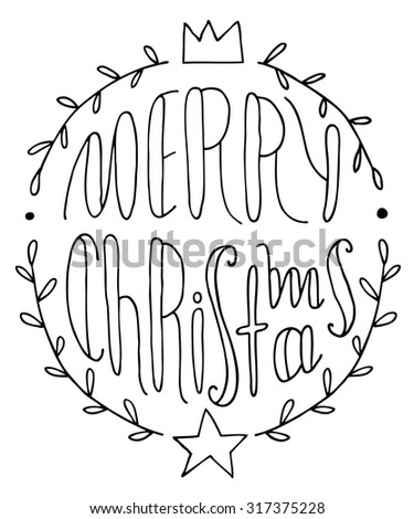 Hand drawn Christmas greeting card with wreath of holly. Merry Christmas typography design. Hand drawn Christmas holly wreath illustration. Hand lettering and calligraphy design. vector illustration.
