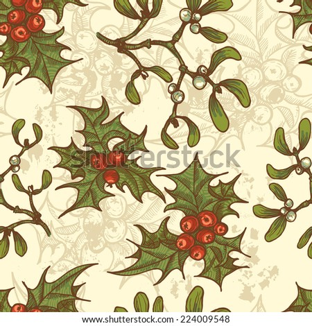 Hand drawn  Christmas holly twigs and mistletoe seamless pattern.  All objects are conveniently grouped  and are easily editable. - stock vector