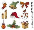 hand drawn Christmas icons - stock vector