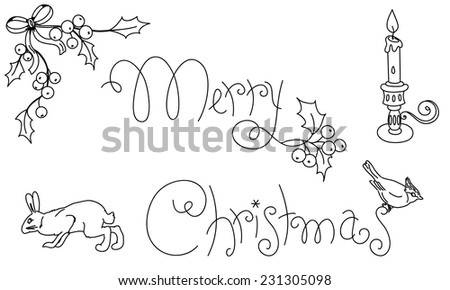 Hand drawn Christmas ornamental text with holly berry, animals and candle. Hand drawn digital stamp isolated over white.