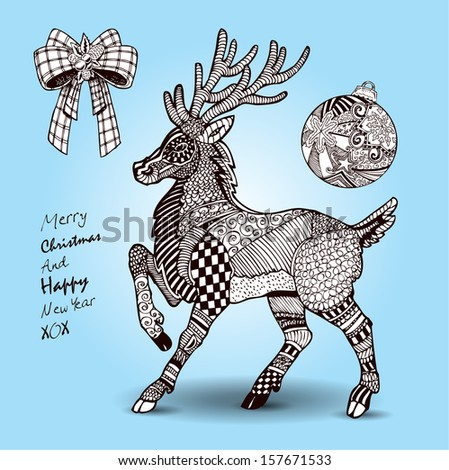 Hand drawn Christmas Reindeer and decorations set