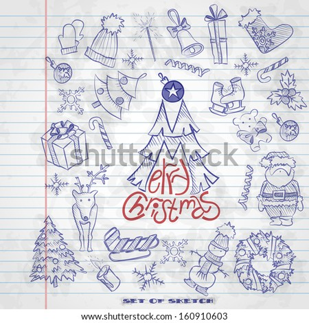 Hand Drawn Christmas Set. Christmas And New Year Symbols. Vector Illustration. Eps 10
