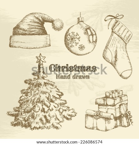 Hand drawn christmas set. Vector sketch - stock vector