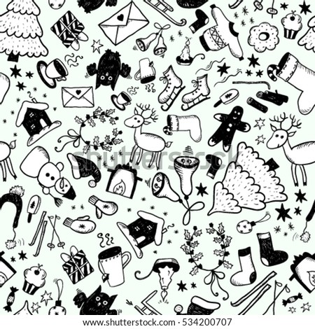 Hand drawn christmas sketch seamless. Black and white vector version.