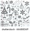 Hand-Drawn Christmas Sketchy Notebook Doodles- Vector Illustration Design Elements on Lined Sketchbook Paper Background - stock photo
