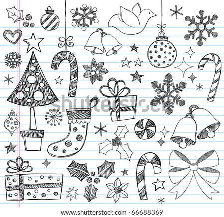 Hand-Drawn Christmas Sketchy Notebook Doodles- Vector Illustration Design Elements on Lined Sketchbook Paper Background - stock vector