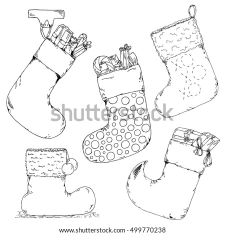 Hand drawn christmas socks vector sketch. Christmas socks isolated on white background. Inky holidays socks with presents. Santa`s socks and boots vector set.