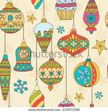 Hand drawn Christmas tree balls and snowflakes. Seamless pattern