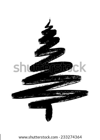 hand drawn Christmas tree isolated on a white background - stock vector