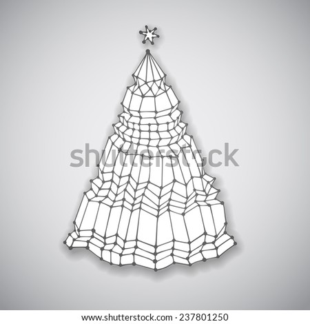 Hand drawn Christmas Tree, vector eps10 illustration - stock vector