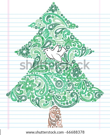 Hand-Drawn Christmas Tree with Dove- Holiday Henna Paisley Notebook Doodles Vector Illustration- Design Elements on Lined Sketchbook Paper Background - stock vector