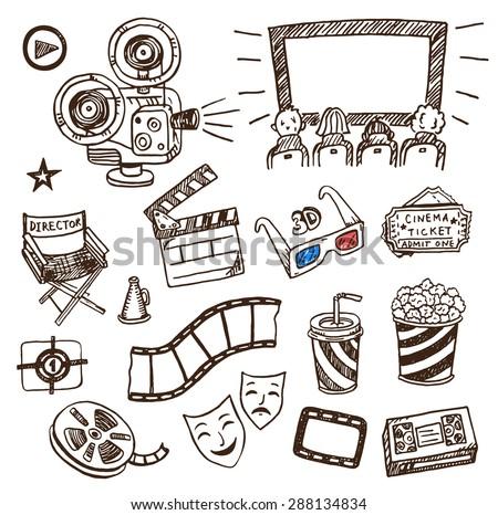 Hand drawn cinema icons doodle set. - stock vector