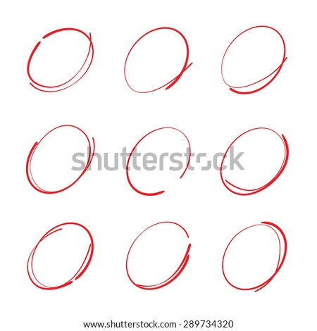 hand drawn circle and bubbles, red circle set - stock vector