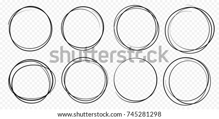 Hand drawn circle line sketch set. Vector circular scribble doodle round circles for message note mark design element. Pencil or pen graffiti  bubble or ball draft illustration.