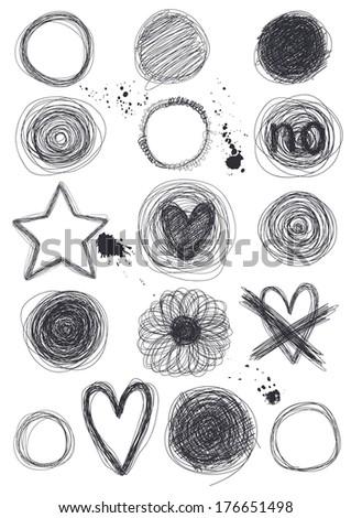 Hand-Drawn Circles - stock vector
