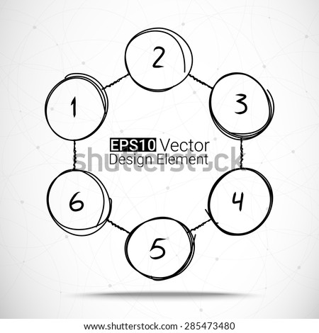 Hand drawn circles set for your design, Six steps Eps10 vector chart - stock vector