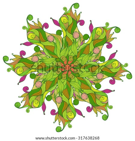 Hand drawn circular ornament. Can be used for banner, invitation, wedding card, scrapbooking and others. - stock vector