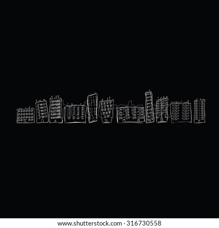 Hand drawn city of houses on the black background - stock vector