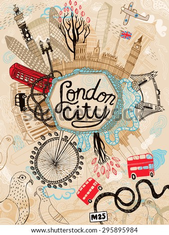 Hand drawn city of London in United Kingdom - stock vector