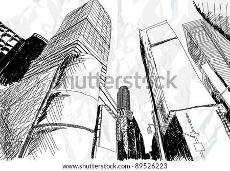 Hand drawn cityscape on white background - stock vector