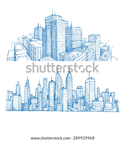 Hand drawn cityscapes and buildings blue print - stock vector