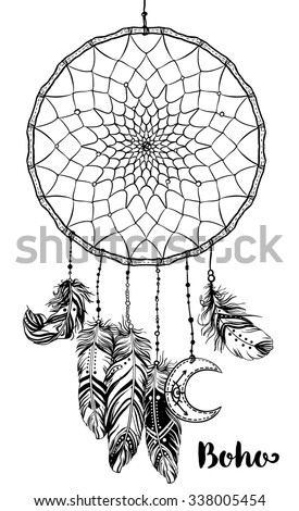 Hand drawn clip art of Native American Indian talisman dream catcher adorned with feathers and moon symbol. Vector hipster illustration isolated on white. Lineart. Ethnic design, mystic tribal symbol. - stock vector