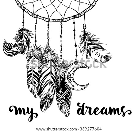 Hand drawn clip art of Native American Indian talisman dream catcher adorned with feathers and moon symbol. Vector illustration isolated on white. Lineart. Ethnic design, mystic tribal symbol. - stock vector