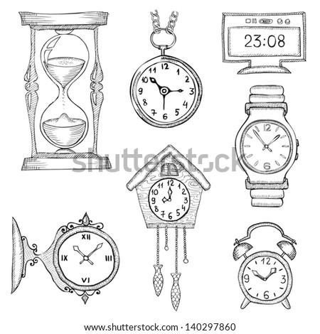 hand drawn clocks set eps8 - stock vector