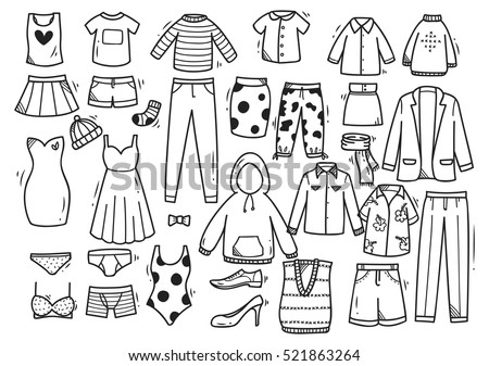 Hand drawn clothes doodle set isolated on white background