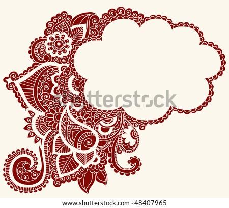 Hand-Drawn Cloud Shaped Henna (mehndi) Paisley Silhouette Vector Illustration Design Element - stock vector