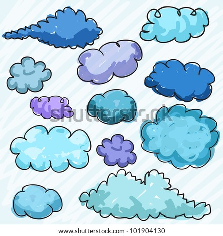 Hand drawn clouds, vector - stock vector