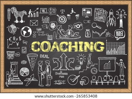 Hand drawn coaching on chalkboard. Business doodles. - stock vector