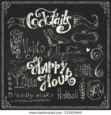 Hand drawn cocktails doodles. Chalk lettering  - stock vector