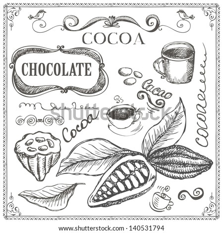 Hand drawn cocoa and chocolate doodles - stock vector
