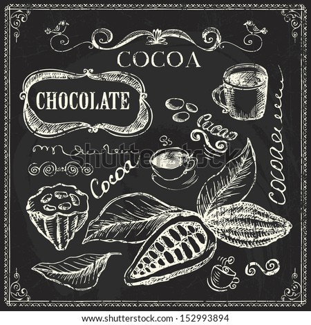 Hand drawn cocoa and chocolate doodles  on chalk board - stock vector