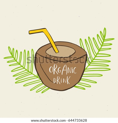 Hand drawn coconut, sign of summer drink, smoothies, green detox. Organic fruit shake cocktail . Eco healthy ingredients. Vector illustration for for restaurant, bar, menu.
